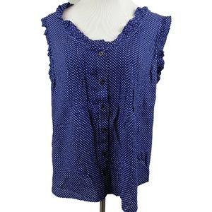 Anthro Maeve Polka Dot ruffle blue blouse button